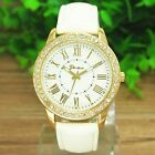 Fashion Golden Leather Luxury Geneva Lady Women Analog Quartz Wrist Watch