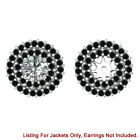 Black Diamond Double Halo Solitaire Stud Bridal Earrings Jackets 14K White Gold