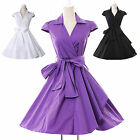 ❤50s HOUSEWIFE❤Purple Vintage Belted Style OFFICE Prom Party Swing Short Dress