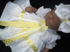 DREAM ROMANY BABY GIRLS LEMON BOW LACE DRESS & hbd ALL SIZES OR REBORN DOLLS