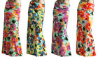 *AZULES* Women's multi color flower printed  folded waist maxi skirt S,M,L,XL