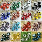 5pcs Murano Lampwork Glass Evil Eye European Charm Beads Fit Snake Chain Jewelry