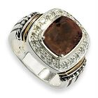 Quartz Diamond Ring .925 Sterling Silver 14K Accent 0.167 Ct Sz 6-8 Shey Couture