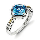Blue Topaz Ring .925 Sterling Silver & 14K Gold Accent Size 6-8 Shey Couture