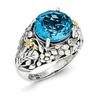 Blue Topaz Ring .925 Sterling Silver & 14K Gold Accent Size 6 - 8 Shey Couture