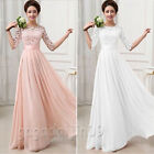 Women's Ladies 3/4 Sleeve Ball Gown Chiffon Lace Formal Party Bridesmaid Dress