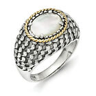 Mother Of Pearl Ring .925 Sterling Silver & 14K Gold Accent Sz 6-8 Shey Couture