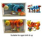 1st Cot/Pram Spiral Toy in Red Caterpillar and Blue Rabbit Suitable from Birth