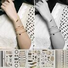 1 Sheet Temporary Metallic Tattoo Cool Gold Silver Black Flash Tattoos Inspired