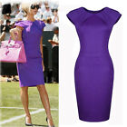 Vintage Women Tunic Evening Ball Gown Slim Fit Sheath Short Party Dress Purple