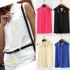 Stylish Women Rivet Chiffon Sleeveless T-Shirt Blouse Stand Collar Vest Tops Hot