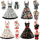 CHEAP 1950s ROCKABILLY FLOWERS PRINT VINTAGE RETRO PIN UP SWING PARTY PROM DRESS