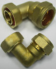 "COMPRESSION BRASS BENT TAP CONNECTOR 15mm x 1/2"", 22mm x 3/4"" PIPE FITTINGS"