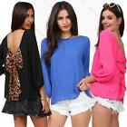 New Women's Loose Sexy Long-sleeved Chiffon Casual Blouse Shirt Tops M-XXL