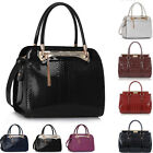 Patent Leather Style Celebrity Tote Bags Women's Faux Snakeskin Ladies Handbag