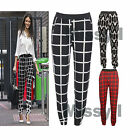 Womens Celeb inspired Check Monochrome Aztec Print Harem Pants Trousers 8-14