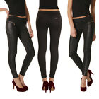 Womens Black PU leather Zip Leggings Jeggings Denim Look Skinny/Stretchy Pants
