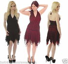 HALTER NECK FITTED LACE DRESS  goth emo 80,s fancy dress