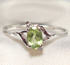 Genuine Green Peridot .925 Sterling Silver Ring -- PD710
