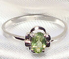 Genuine Faceted Oval Green Peridot .925 Sterling Silver Ring -- PD864