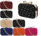 LADIES FAUX SUEDE BOW DIAMANTE BOX CLUTCH BAG PARTY PROM EVENING BAG HANDBAG