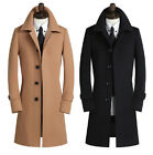 Fashion Slim Fit Men's Single Breasted Polo Collar Trench Coat Long Jacket Parka