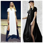 Women's High Side Split Maxi Dress Party Casual Tee Long Tops T-shirt Blouse S-L