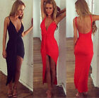 Sexy Women Slim Ruched Bodycon Backless Casual Cocktail Evening Party Maxi Dress