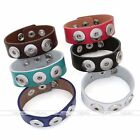 Snap Charm Punk Genuine Leather Bracelet Fit Popper 3 Button Jewelry DIY