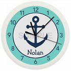 ANCHOR NURSERY WALL CLOCK PERSONALIZED TEAL BLUE CUSTOM NAUTICAL DECOR NAVY