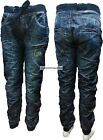 "New Mens Denim 73 By Crosshatch Dark Wash Denim Cuffed Leg Jeans  Sizes 28""-40"""