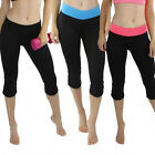 2 Pack: Ladies Yoga Capri with Fold-Over Waistband