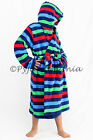 Boys Coral Fleece Hooded Dressing Gown Robe Blue Red Green Stripes 8 10 12 14
