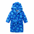 Boys Coral Fleece Hooded Dressing Gown Robe Blue Polka Dots 0 1 2 3 4 5 6 7