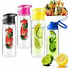 800ML Sports Lemon Juice Flip Lid Fruit Infuser Infusing Water Bottle 4 Colours