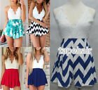 Sexy Women Lace V-neck Backless Chiffon Rompers Beach Jumpsuit Playsuit Shorts