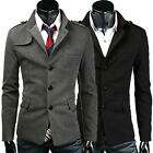 New Stylish Mens Slim Fit Coat Coats Pea Coat Single Breasted Jackets Trench Top