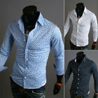 Stylish Handsome Men Slim Fit Skinny Long Sleeve Casual Dress Shirts Tops Blouse