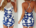 Sexy Women Deep V Neck Lace Strap Backless Floral Printed Party Dress Shorts