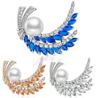 Big Pearl&Crystal Feather Brooch Pin Women's Wedding Accessory X246