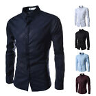 Korean Luxury Mens Stylish Casual Long Sleeve Slim Fit Dress Shirts Tops 5colors