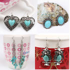 4X Lady Girl Antique Tibet Silver Bead Blue Turquoise Dangle Earring Gift 1 Pair