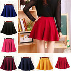 Sexy Women Stretch High Waist Skirt Plain Skater Flared Pleated Girl Short Dress