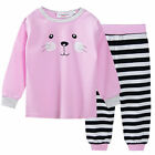 Girls Winter Cotton Long Sleeve 2pc Long Pyjamas Pjs Pink Grey Cat Stripes 0 1 2
