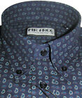 Navy Blue Paisley Button Down Shirt Long Sleeve Luxury Cotton Mr Free - S-3XL