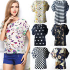 Stylish Women Loose T-shirt Chiffon Batwing Dolman Casual Blouse Tee Tops summer