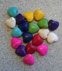 18 DYED HOWLITE 12mm PUFF HEART BEADS - 9 colours, Red, Yellow, Purple, Aqua