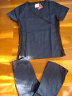 #4018 New Wrap Knit side Nursing Scrub set  Nurse Medical Uniform Set Navy Blue