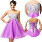 LONDON BEADED~~ Short Mini Graduation Evening Gown Party Bridesmaid Prom Dresses