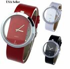 Fashion Luxury Transparent Leather Analog Quartz Girl Women Ladies Wrist Watch image